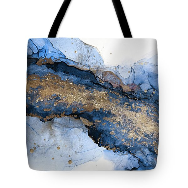 River Of Blue And Gold Abstract Painting Tote Bag