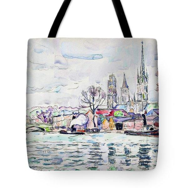 River Scene, Rouen - Digital Remastered Edition Tote Bag