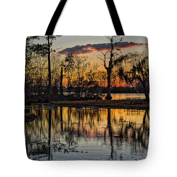 Riverside Sunset Tote Bag