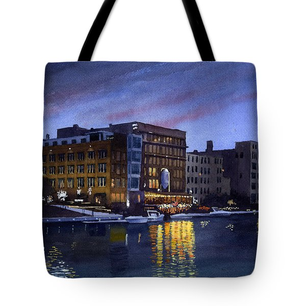 Riverwalk Nocturne Tote Bag