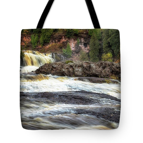 Tote Bag featuring the photograph Roaring Gooseberry Falls by Susan Rissi Tregoning