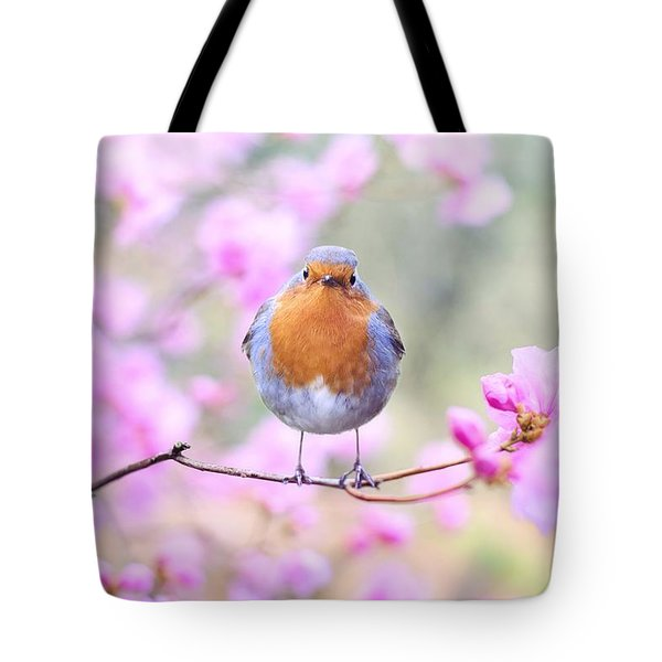 Robin On Pink Flowers Tote Bag