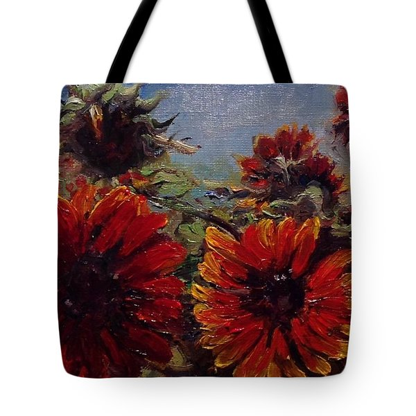 Tote Bag featuring the painting Robin's Banquet by J Reynolds Dail