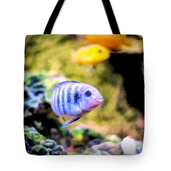 Tote Bag featuring the digital art Rock Cichlid Blue Zebra by Don Northup