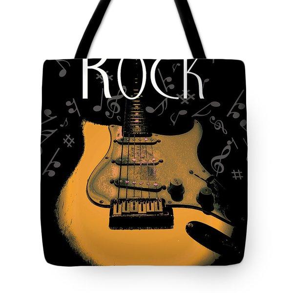Rock Guitar Music Notes Tote Bag