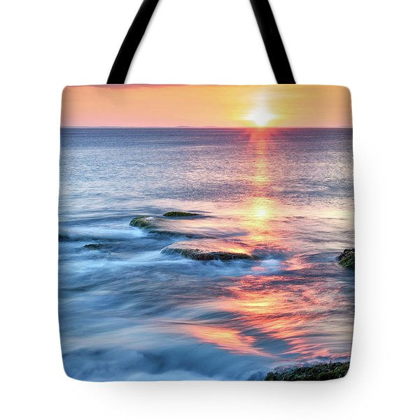 Tote Bag featuring the photograph Rockport Pastel Sunset Ma. by Michael Hubley