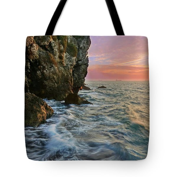 Rocky Cliffs And Waves During Sunset Tote Bag