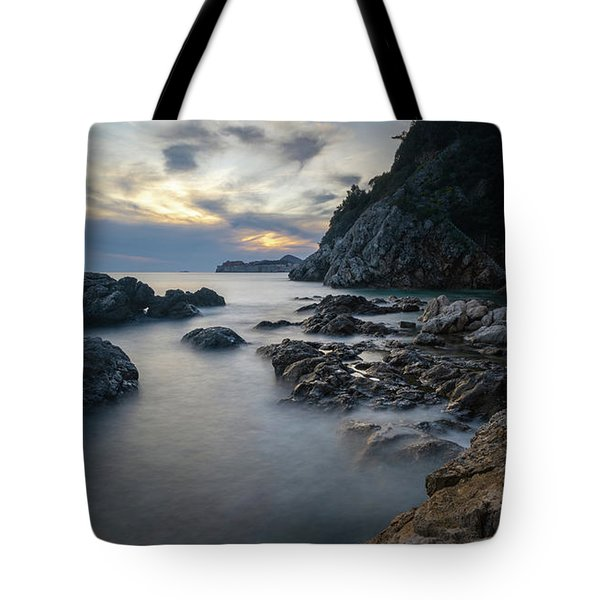 Tote Bag featuring the photograph Rocky Coast Near Dubrovnik by Milan Ljubisavljevic