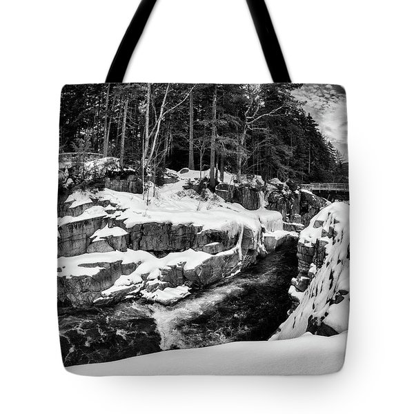 Tote Bag featuring the photograph Rocky Gorge Foot Bridge N H by Michael Hubley