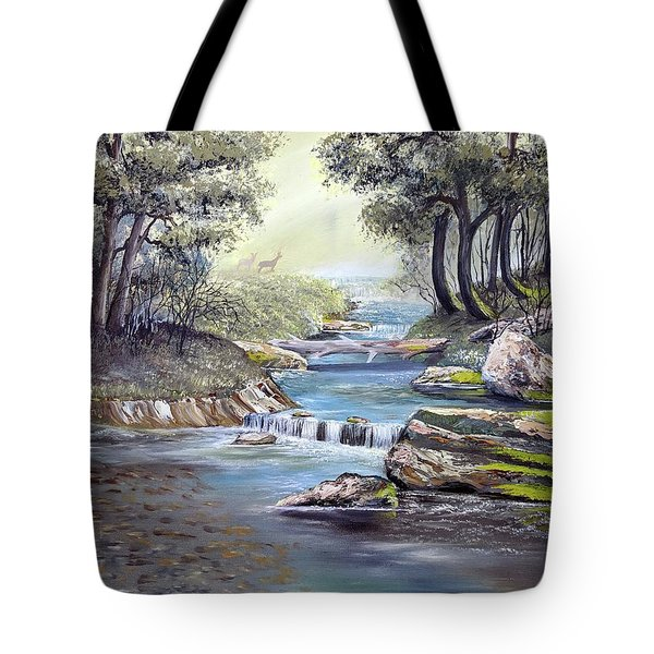 Tote Bag featuring the painting Rocky Stream by Deleas Kilgore
