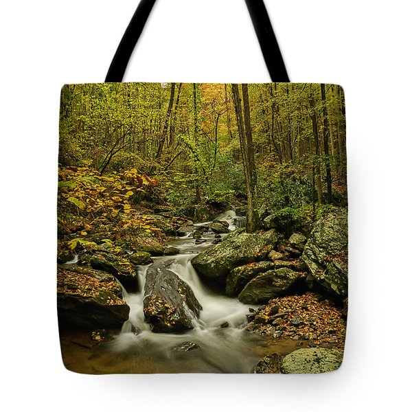 Tote Bag featuring the photograph Rocky Stream Vertical by Meta Gatschenberger