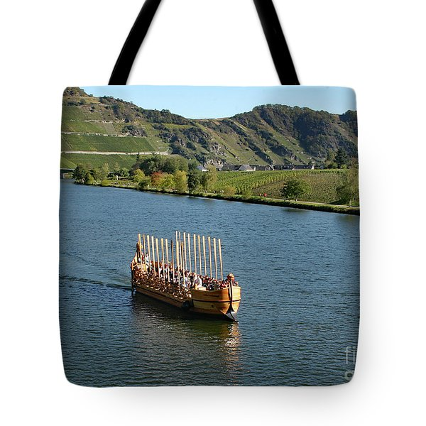 Tote Bag featuring the photograph Roman Warship On The Mosel by PJ Boylan