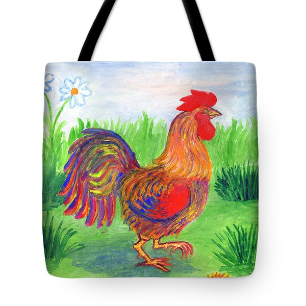 Rooster And Little Chicken Tote Bag
