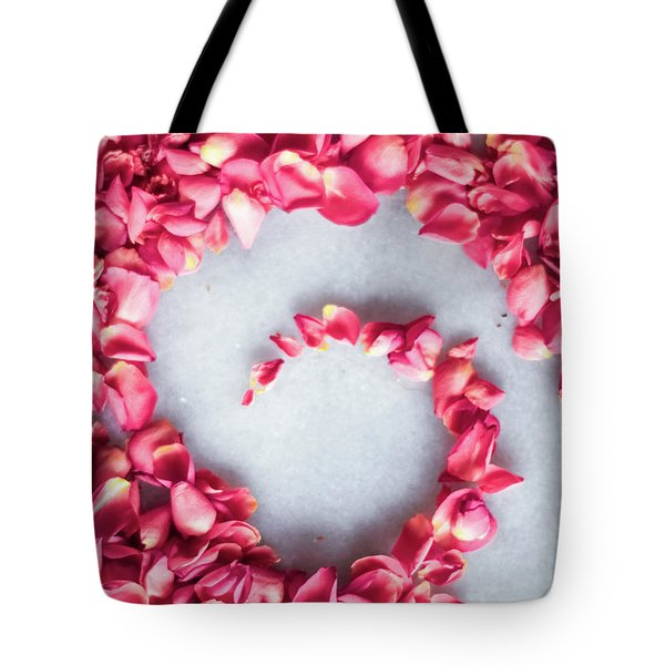 Tote Bag featuring the photograph Rose On Marble V by Anne Leven