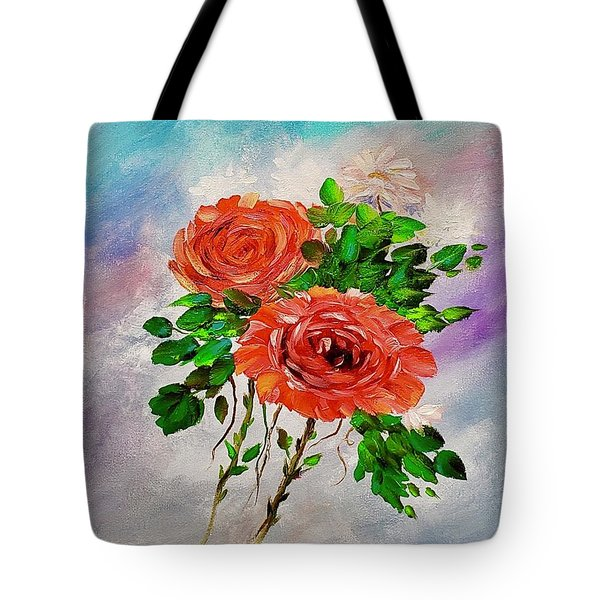 Tote Bag featuring the painting Roses by Mary Scott