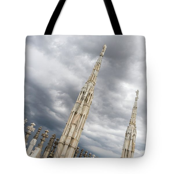 Rough Sky And Airy Spires - Milans Cathedral Duomo Di Milano Tote Bag
