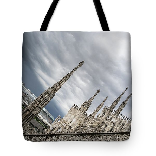 Rough Sky Over Milans Cathedral Duomo Di Milano Tote Bag