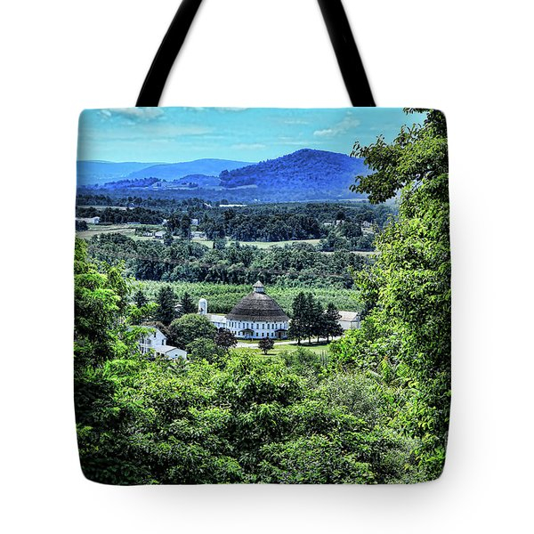 Tote Bag featuring the photograph Round Barn Landscape by Photography by Laura Lee