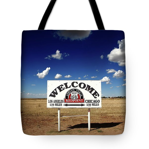 Tote Bag featuring the photograph Route 66 - Midpoint Sign 2010 Bw by Frank Romeo