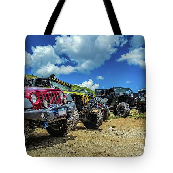 Row Of Jeeps Tote Bag