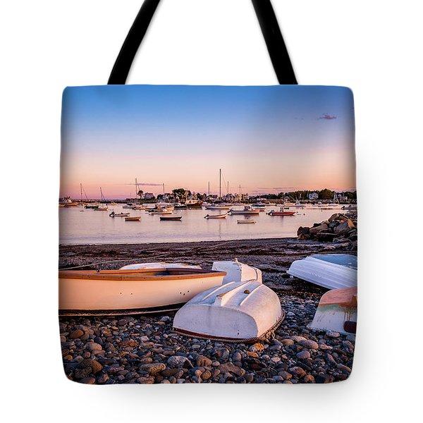 Rowboats At Rye Harbor, Sunset Tote Bag
