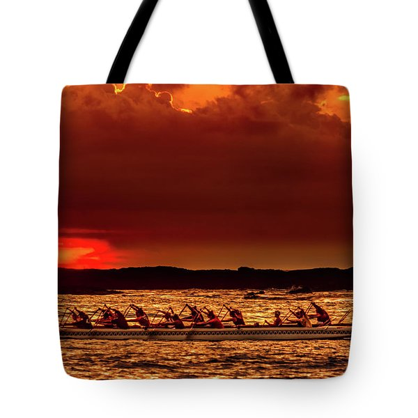 Rowing In The Sunset Tote Bag