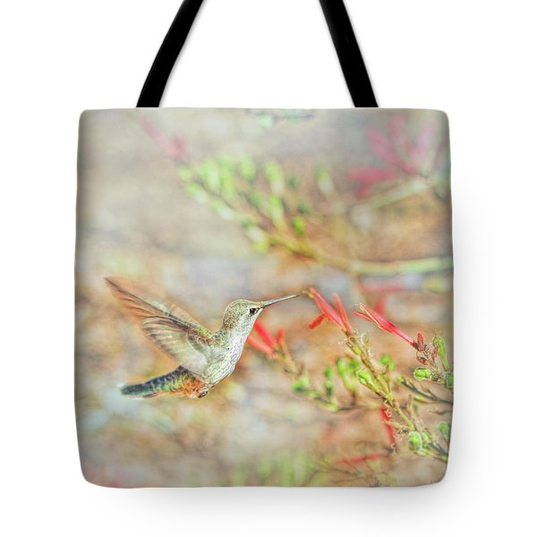 Rufous Hummingbird In The Arizona Garden Tote Bag