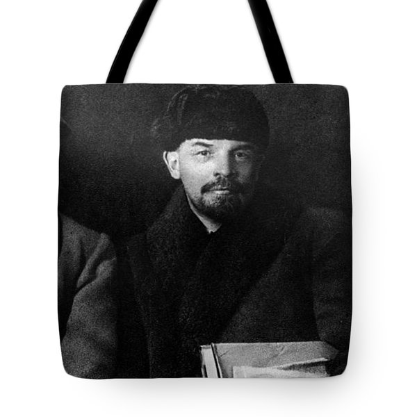Russian Revolutionaries Leaders Josef Stalin, Vladimir Lenin And Mikhail Kalinin In 1919 Tote Bag