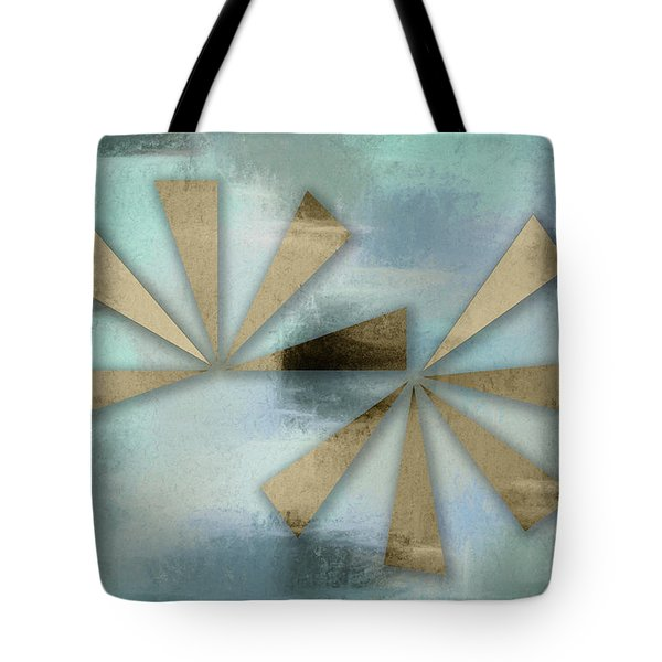 Rusted Triangles On Blue Grey Backdrop Tote Bag