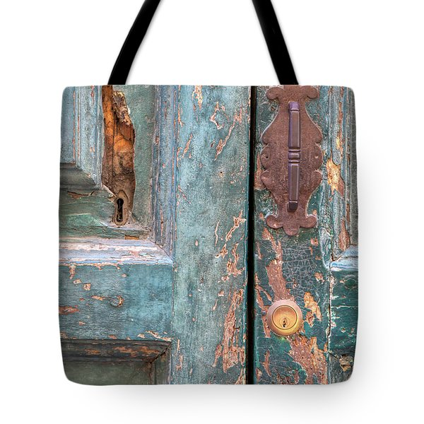 Tote Bag featuring the photograph Rustic Green Door Of Cortona by David Letts