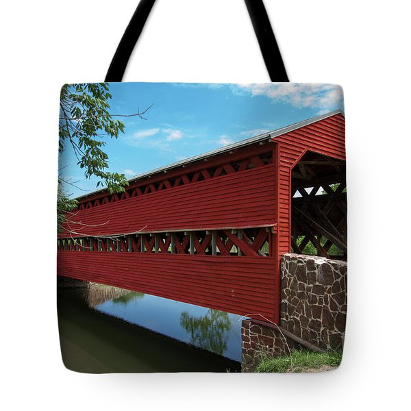 Tote Bag featuring the photograph Sachs Covered Bridge by Photography by Laura Lee
