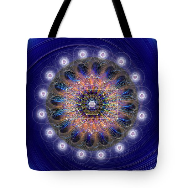 Tote Bag featuring the digital art Sacred Geometry 726 by Endre Balogh