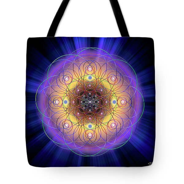 Tote Bag featuring the digital art Sacred Geometry 732 by Endre Balogh