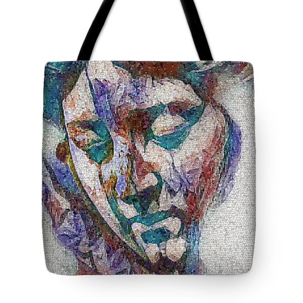 Tote Bag featuring the digital art Sad Lady Mosaic by Shelli Fitzpatrick