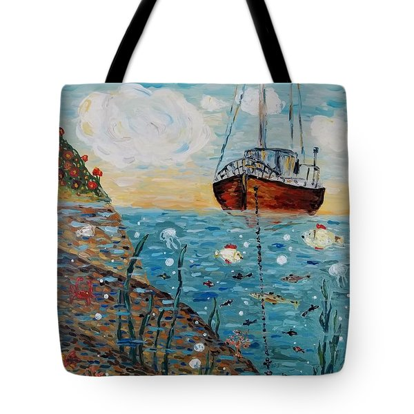 Tote Bag featuring the painting Safe Harbor by Maria Langgle