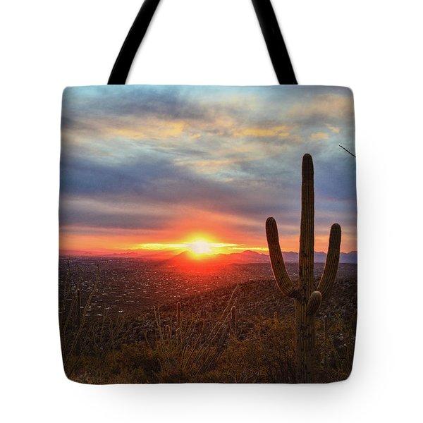 Saguaro Cactus And Tucson At Sunset Tote Bag