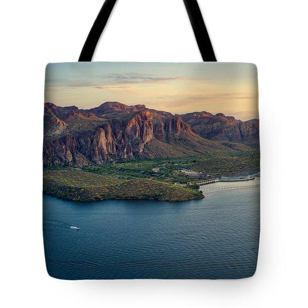 Saguaro Lake Mountain Sunset Tote Bag