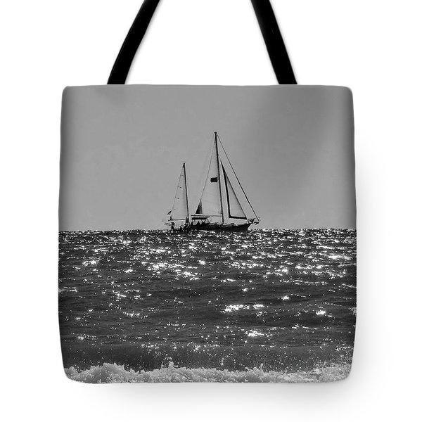 Sailboat In Black And White Tote Bag