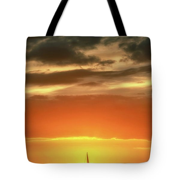 Sailboat In Front Of A Hawaiian Sunset Tote Bag