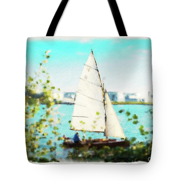 Sailboat On The River Watercolor Tote Bag