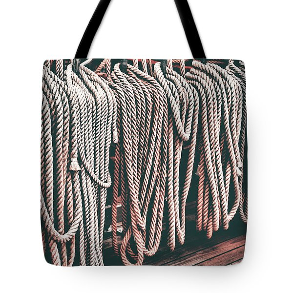 Sailboat Ropes And Deck Retro Tote Bag