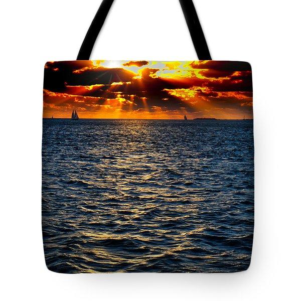 Sailboat Sunburst Tote Bag