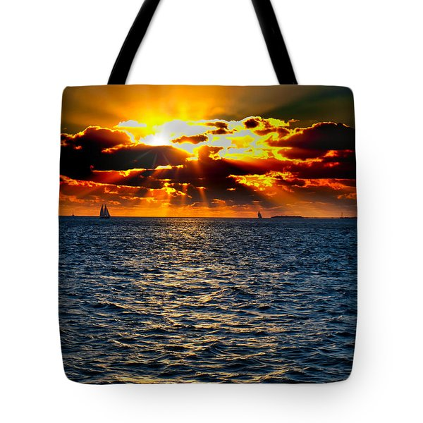 Sailboat Sunburst Tote Bag