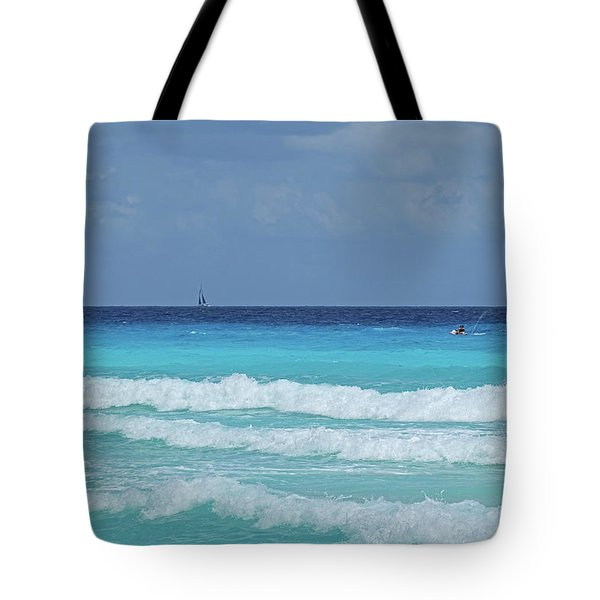 Sailing And Jet Skiing On The Beautiful Blue Water Of Cancun Beach Cancun Mexico Tote Bag