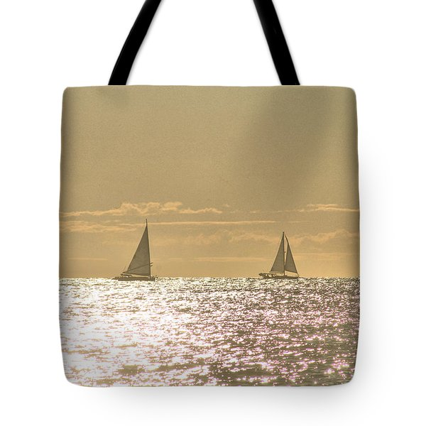 Tote Bag featuring the photograph Sailing On The Horizon by Robert Banach