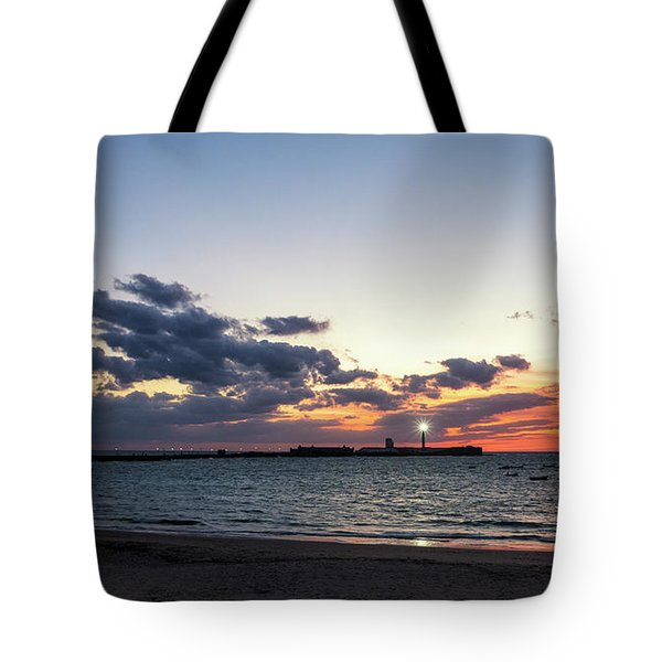 Tote Bag featuring the photograph Saint Sebastian Lighthouse At Dusk Cadiz Spain by Pablo Avanzini