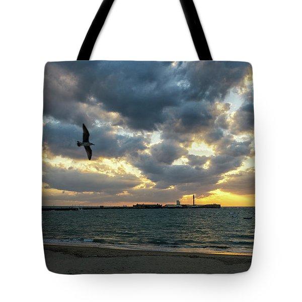 Tote Bag featuring the photograph Saint Sebastian Lighthouse At Sunset Cadiz Spain by Pablo Avanzini