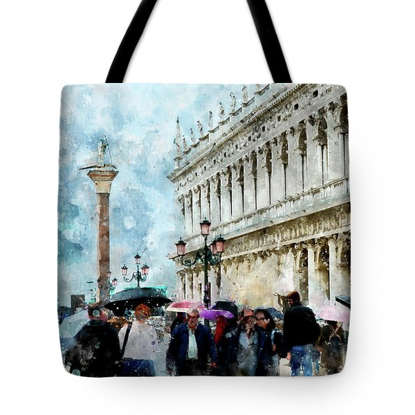 Saint Theodore Sculpture At Saint Mark Square In Venice, Italy - Watercolor Effect Tote Bag