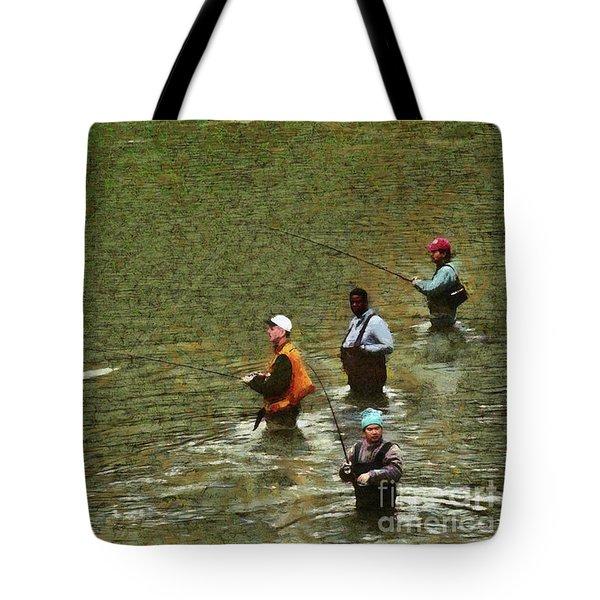 Salmon Fishing Nisqually River Tote Bag