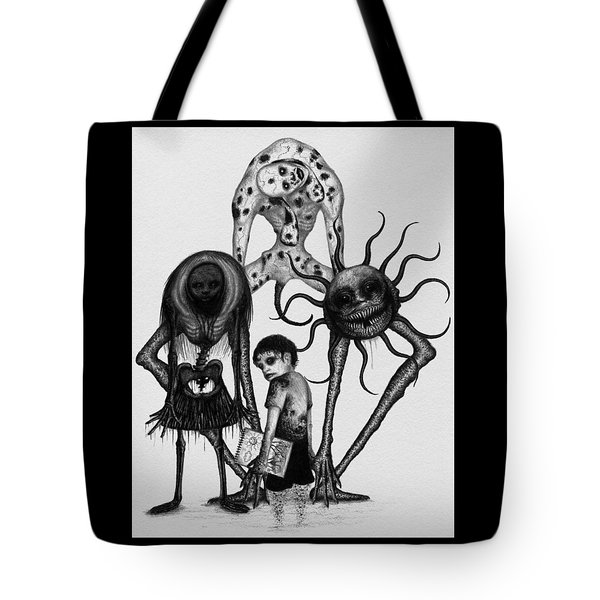 Tote Bag featuring the drawing Sammy And Friends - Artwork by Ryan Nieves